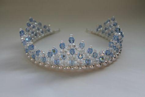 Handmade Bridal Prom-Ivoire Perle et Clear AB Cristaux Tiara bandeau