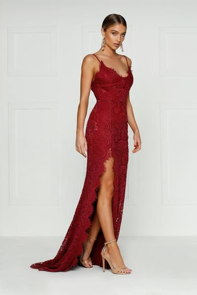 e89f43cdde Layali Gown - Burgundy Lace V Neck Low Back Side Slit Long Train Dress