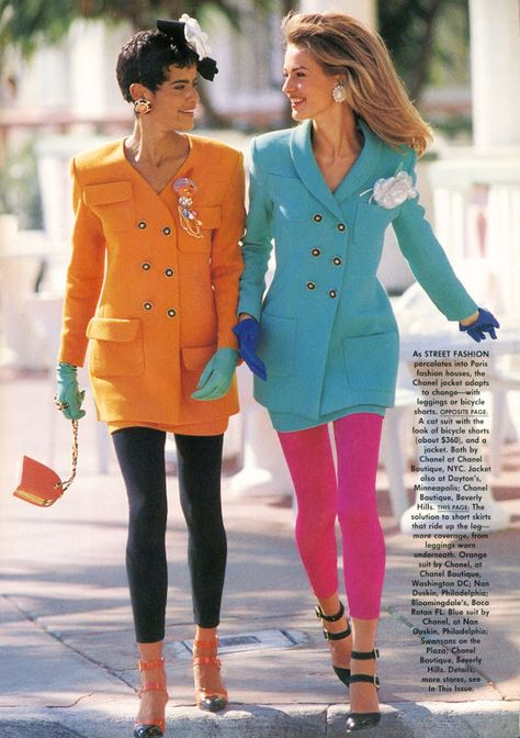 "The News : Live And In Color"", Vogue US, March 1991 Photographer : Patrick Demarchelier Models : Nadege du Bospertus & Karen Mulder Stylist : Grace Coddington Makeup : Moyra Mulholland Hair : Sam McKnight for Daniel Galvin at La Coupe"