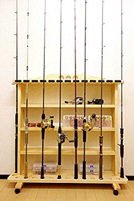Amazon 家具職人の作ったロッドスタンド Rs 23 2ピース用 太穴 17本用 キャスター付 ヒノキ材使用 家具職人の作ったロッドスタンド ロッドスタンド 職人 家具 釣り