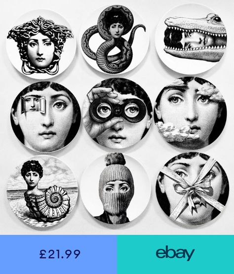 8 Ceramic Art Plates Piero Fornasetti Wall Hanging Home