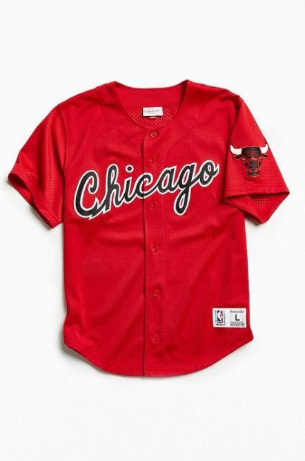 ceacf7d3806 Chicago Bulls Men's Red Button-Up Baseball Jersey by Mitchell & Ness # Chicago #Bulls #ChicagoBulls | Bulls Jerseys | Baseball jersey outfit,  Jersey outfit, ...
