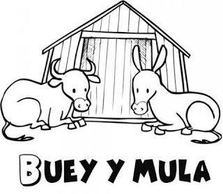 Buey Y Mula Del Belen Mula Dibujos Dibujos Para Colorear