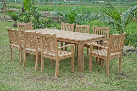 Gartentisch 220x100cm Mit 8 Beaufort Stuhle Teak Aussenmobel