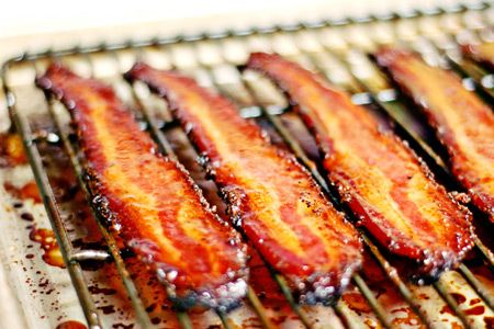 Pig candy. How can you possibly go wrong with peppered bacon coated with dark brown sugar, baked, then glazed with pure maple syrup mixed with a little cayenne? The answer is: don't be a jackass. Of course you can't go wrong with this.