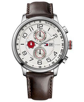 Tommy Hilfiger Watch Men S Brown Leather Strap 46mm 1790858 Relogios Legais Relogios