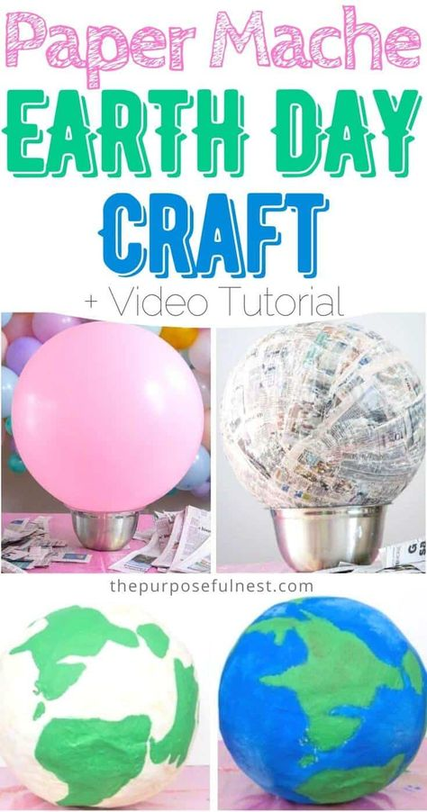 Looking for a fun Earth Day craft activity. Have kids make a Paper Mache Planet Earth for Earth day with this tutorial Planets Activities, Earth Day Activities, Craft Activities, Creative Activities For Kids, Earth For Kids, Planet For Kids, Paper Mache Crafts For Kids, Recycled Crafts Kids, Planet Crafts