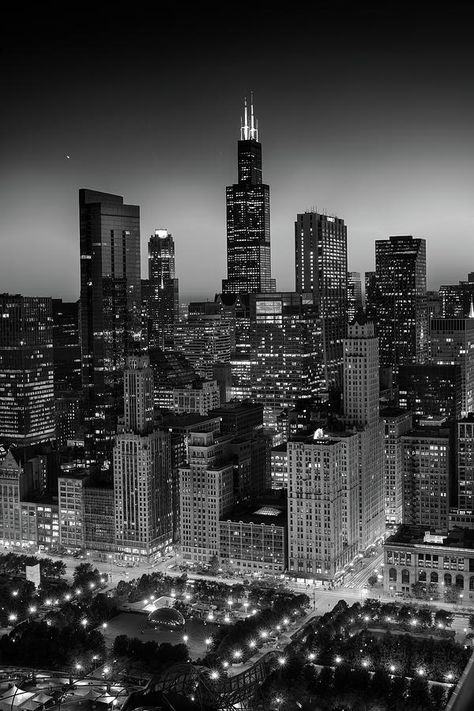 City Light Chicago B W Photograph by Steve Gadomski Photography