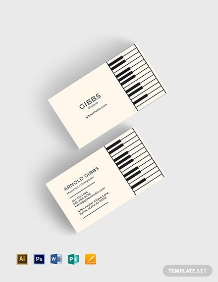 Musician Business Card Template Word Doc Psd Apple Mac Pages Illustrator Publisher Musician Business Card Business Cards Diy Templates Student Business Cards