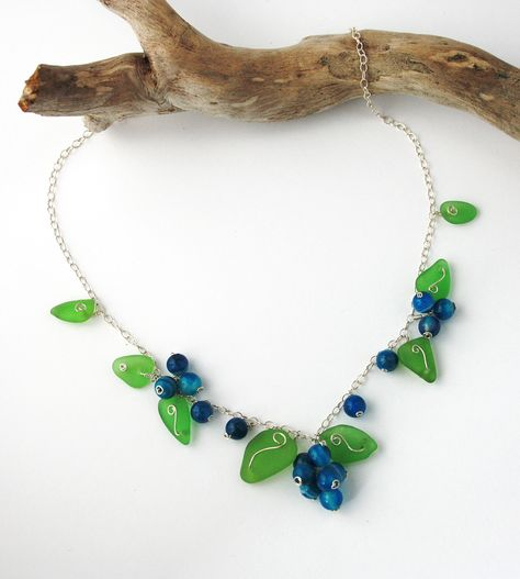 Bluberries Green Sea Gl Leaves And Blue Banded Agate Beads Make Up This Sweet Little Blueberry Necklace