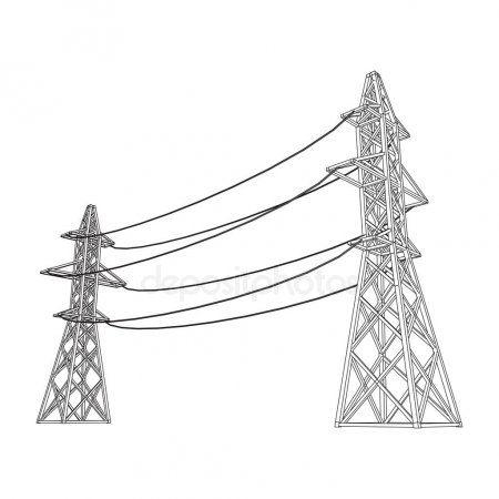 Power Transmission Tower High Voltage Pylon Stock Vector Sponsored Tower High Power Transmission Ad Transmission Tower High Voltage Tower