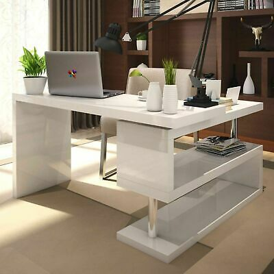 Details About White High Gloss Large Computer Pc Home Executive