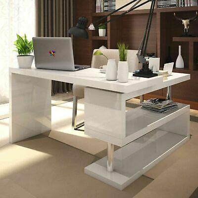 White High Gloss Large Computer Pc Home Executive Study Office Corner Desk Ebay In 2020 White Desk Office Stylish Office Desks Best Home Office Desk