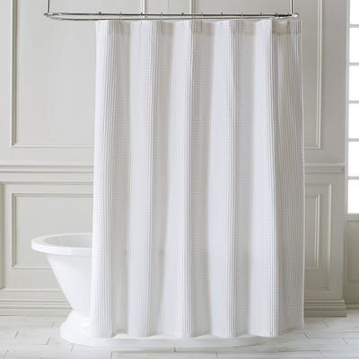 Waffle White Shower Curtain White Shower Curtain Bathroom White