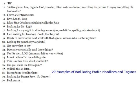 Best taglines for dating profile