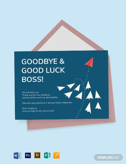 Farewell Card Template For Boss Free Jpg Illustrator Word Apple Pages Psd Publisher Template Net Farewell Cards Goodbye And Good Luck Business Card Template Design