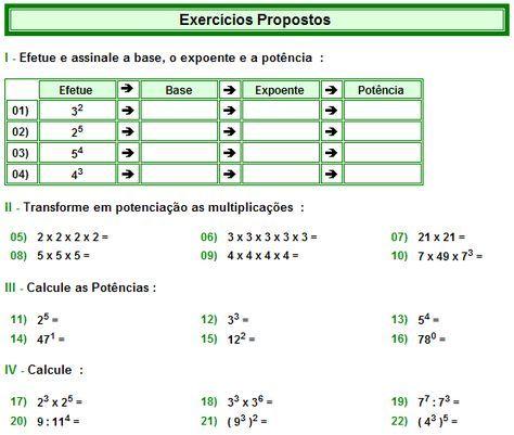 Matematica Muito Facil Aritmetica Potenciacao De Numeros