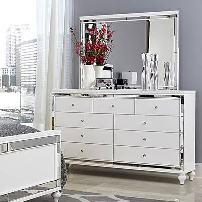 Rivage 3 Drawer Nightstand Dresser With Mirror Furniture White Panel Bedroom Set