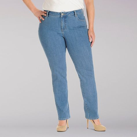 LEE Womens Plus-Size Instantly Slims Classic Relaxed Fit Monroe Straight Leg Jean