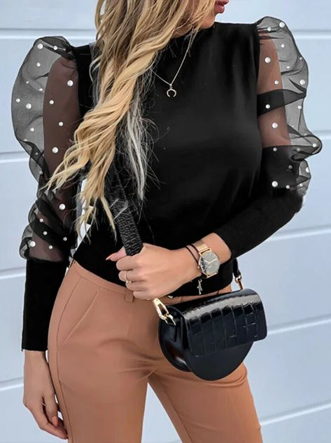 Womens Blouse 2020 Spring Ladies Puff Mesh Sleeve Tops Pullover Shirt – Jartini blouses shirts style blouses designs blouses for women casual women tops shirt blouse#shirts#sweatheart#croptop#shirtdesigh#fashion