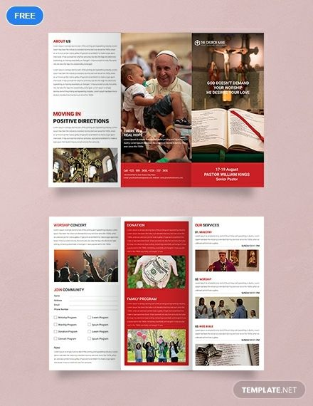 Free A3 Sample Church Brochure Template Word Doc Psd Indesign Apple Mac Pages Illustrator Publisher Church Brochures Brochure Design Template Free Brochure Template