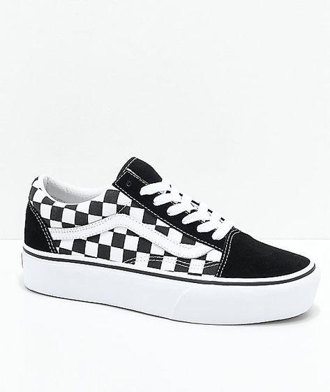 Vans Old Skool Black & White Checkered Platform Shoes ...