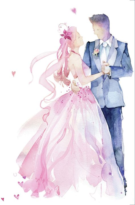 Картинки жениха и невесты нарисованные в розовом цвете