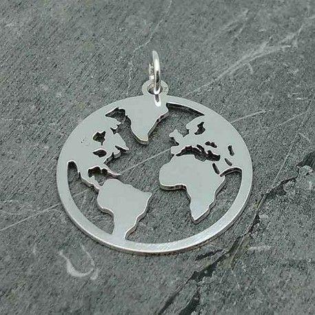 en venta outlet(mk) hacer un pedido Colgante mapamundi, en plata de ley | Colgantes Collares ...