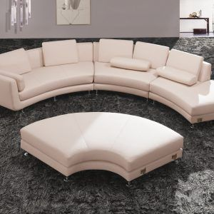 Modern Curved Leather Modular Sectional Sofa Contemporary