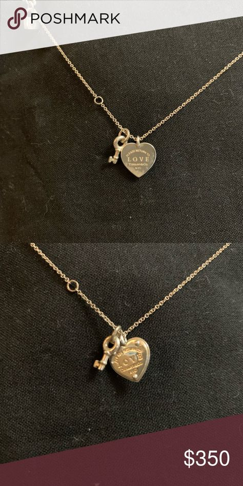 Tiffany Co Heart Lock And Key Necklace Sterling Silver Super Cute Lock Hangs In The Back Tiffany With Images Key Necklace Heart Key Necklace Womens Jewelry Necklace