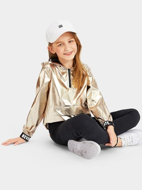 To find out about the Girls Zip Front Lettering Cuff Metallic Hooded Jacket at SHEIN, part of our latest Girls Jackets & Coats ready to shop online today!