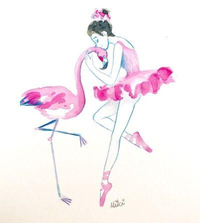 Watercolor Flamingo Tumblr Flamingo Art Ballerina Tattoo