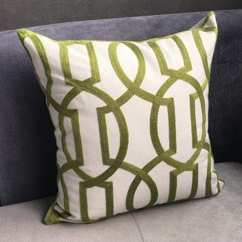Modern Geo Cord Embroidery Pillow Cover