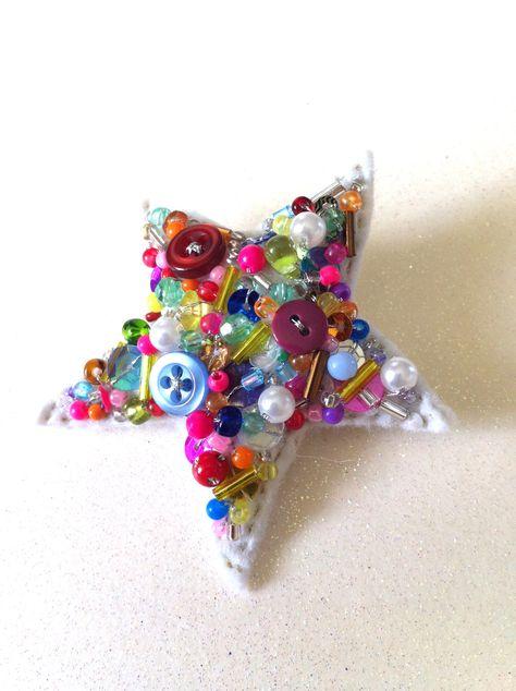 Superstar Fantastic bead and button art pin brooch   wowthankyou.co.uk