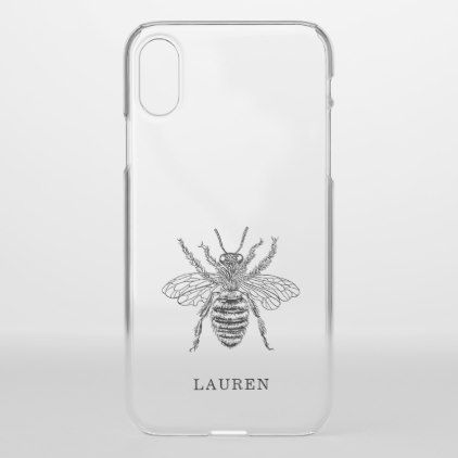 sports shoes f5c02 2f9b9 Elegant Vintage Bee iPhone X Case - drawing sketch design graphic ...