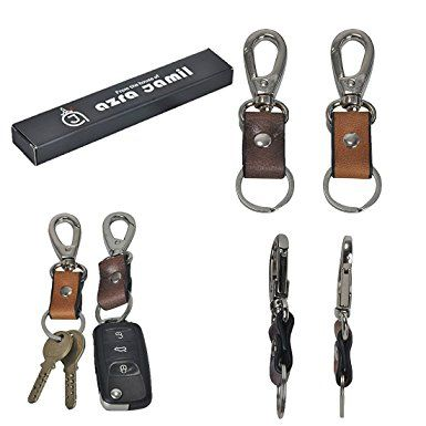 Leather Key Ring Fob Solid Nickel Fixtures Attaches To Belt Holds Multiple Keys Review Leather Keyring Leather Key Leather