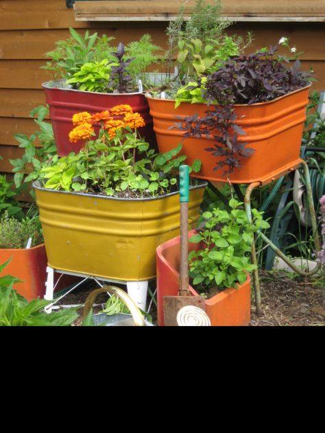 Upcycling old wash tubs and chimney flues