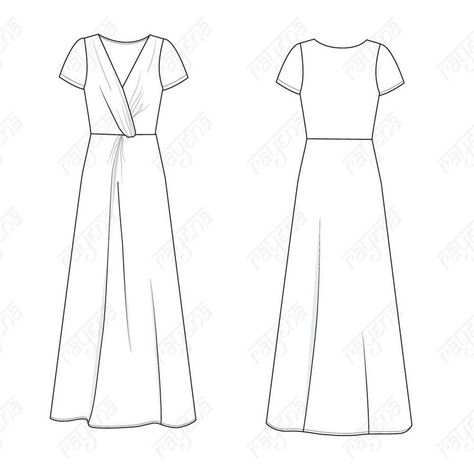 fashion illustration patterns Women's Knot Dress Fashion Flat Template - Women's maxi dress with a front knot and cap sleeves. Easy to colorize and add patterns. Includes front and back illustrations.