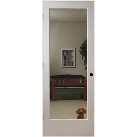 Reliabilt Primed White 1 Panel Solid Core Mirrored Glass Wood Slab Door Common 36 In X 80 In Actual 36 In X 80 In Lowes Com In 2020 Slab Door Reliabilt Glass Doors Interior