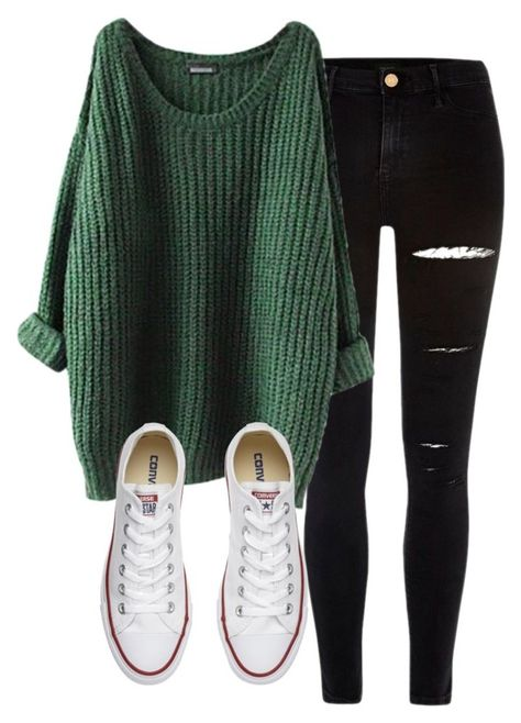 Cute Casual Look Ripped black jeans, Dark Green Jumper and White Converses Winter Fashion Outfits, Fall Winter Outfits, Autumn Winter Fashion, Cute Comfy Outfits, Trendy Outfits, Casual Fall Outfits, Mode Kawaii, Neue Outfits, Teenager Outfits