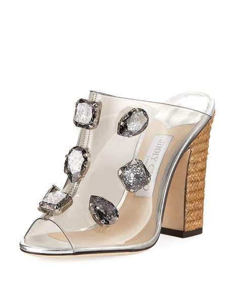 Jimmy Choo Ling Jeweled Plexi Slide Sandal with Rope Heel