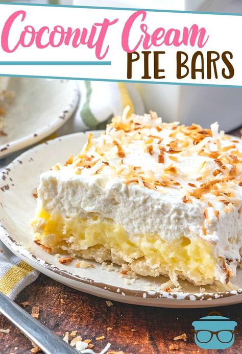 These homemade Coconut Cream Pie Bars start with an easy pie crust, filled with a thick creamy filling and topped with fresh whipped cream!