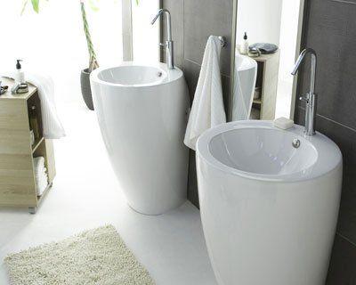 Lavabo TOTEM - CASTORAMA | Salle de bains design carrelage ...