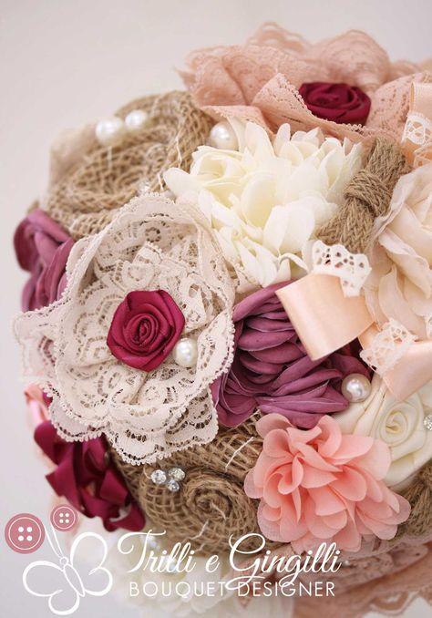 Foto Bouquet Sposa.Bouquet Sposa Country Chic Juta Fiori Stoffa Viola Rosa E Panna
