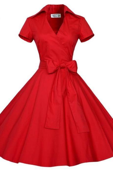 Retro Short Sleeve V-neck A-line Dress with Belt