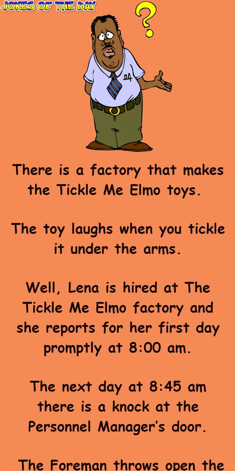 A woman is hired at The Tickle Me Elmo factory
