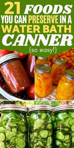 Water bath canning is one of the easiest ways to preserve foods. Learn 21 foods you can preserve in a water bath canner so you can start prepping and preserving food for storage over the winter and off season. Canning Salsa, Canning Pickles, Water Bath Canning, Dill Relish Canning Recipe, Apple Butter Canning, Home Canning Recipes, Canning Tips, Cooking Recipes, Cooking Food