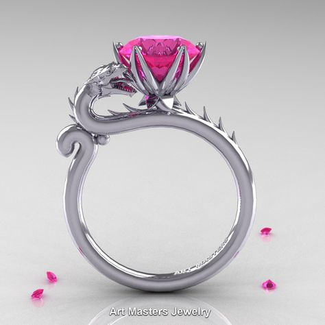 Art Masters 14K White Gold 3.0 Ct Pink Sapphire Dragon Engagement Ring…