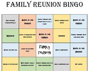 Family Reunion Bingo Cards Instant Download 20 Cards Family Reunion Bingo Family Reunion Reunion
