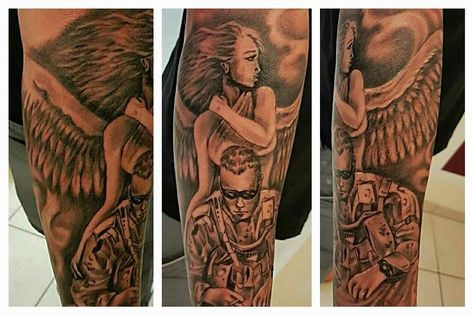 Guardian Angel Watching Over A Soldier Tattoo Soldier Tattoo Sleeve Tattoos Tattoos